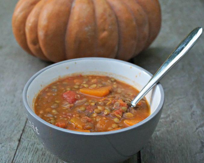 Pumpkin Tomato Lentil Soup