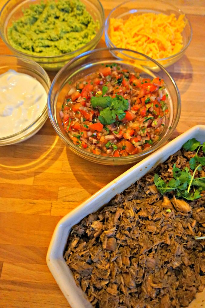 Carnitas with side dishes