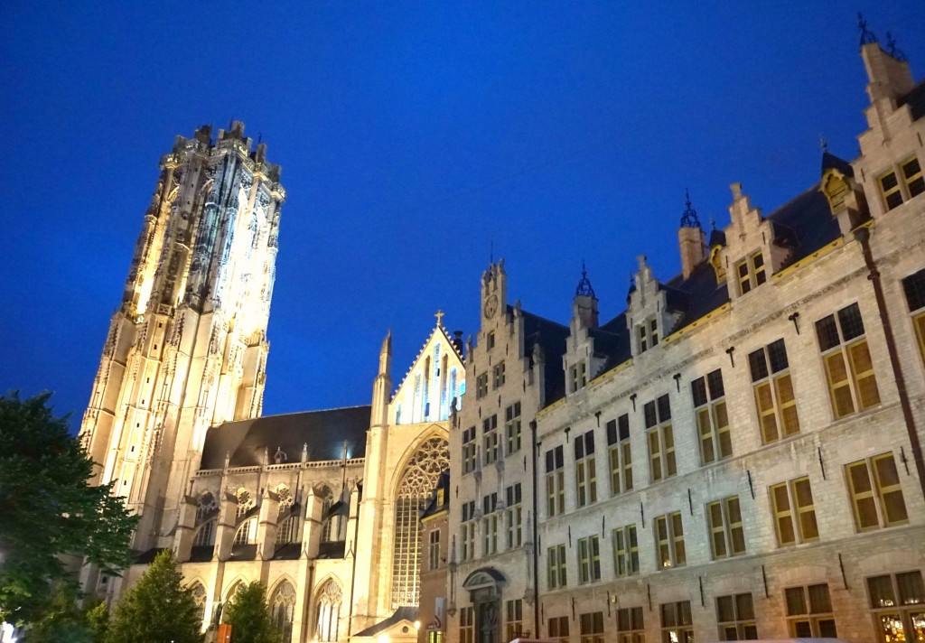 Mechelen St Rumbold Cathedral at night