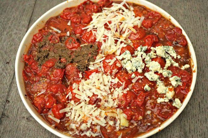 Tomato Tarte Tatin with topping options