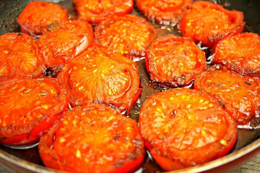 Tomato Tarte Tatin - Tomatoes in pan