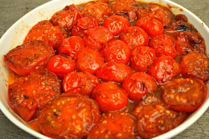Cooked Tomatoes in dish