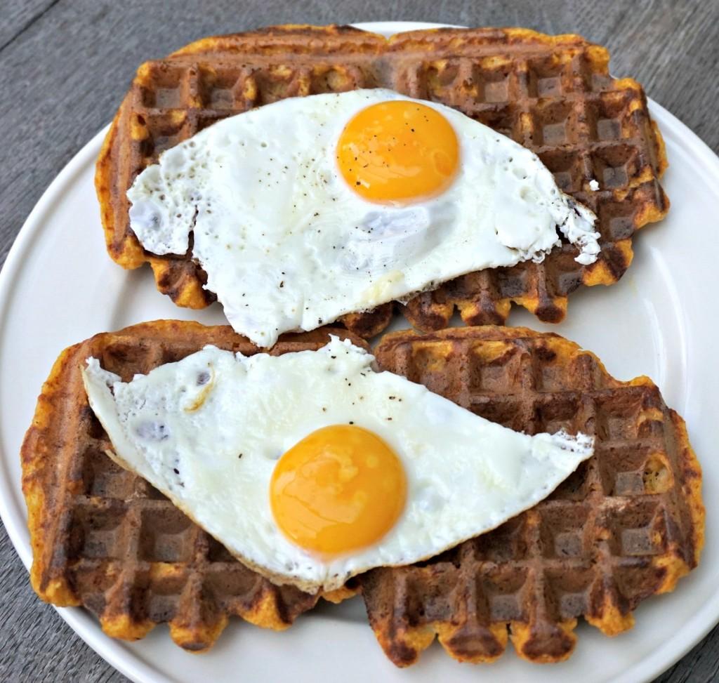 Pumpkin Latke Waffles with eggs