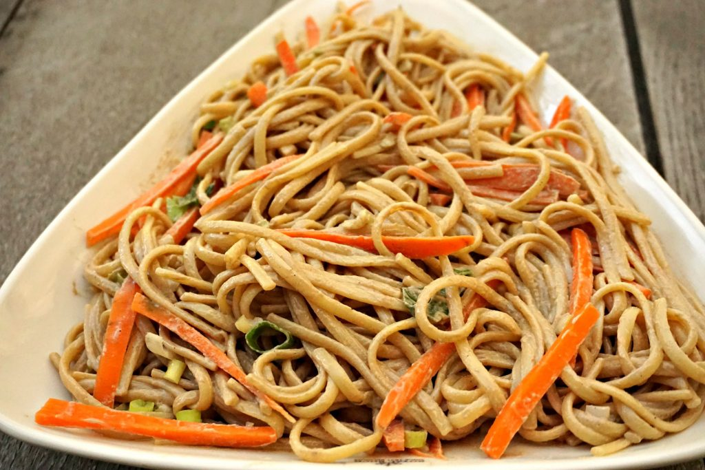 Sesame Noodles with carrots and green onions