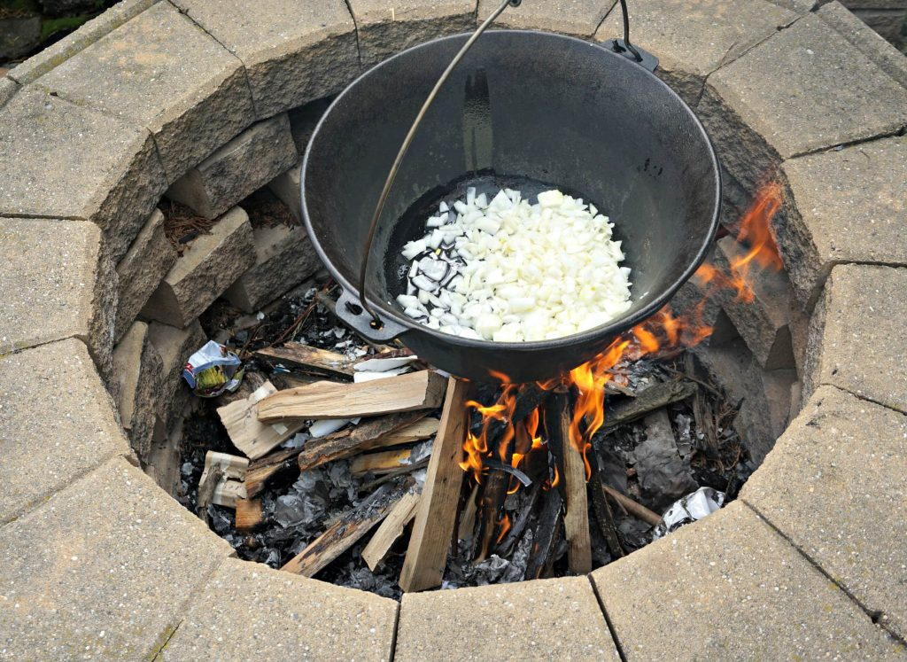 Onions over fire for Hungarian Goulash