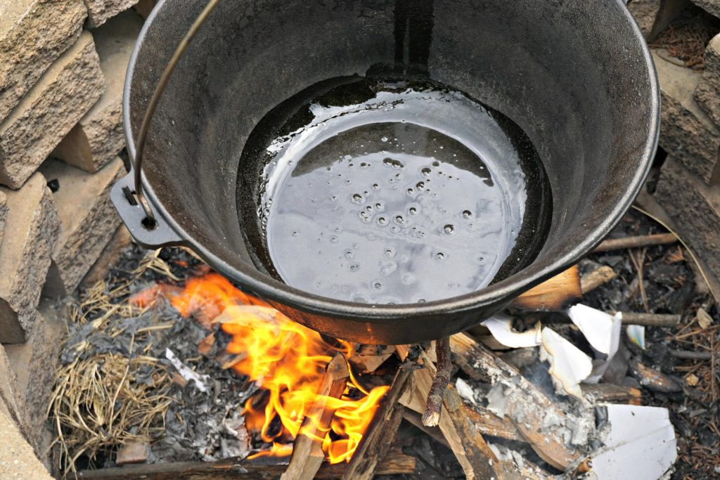 Pot over fire for Hungarian Goulash