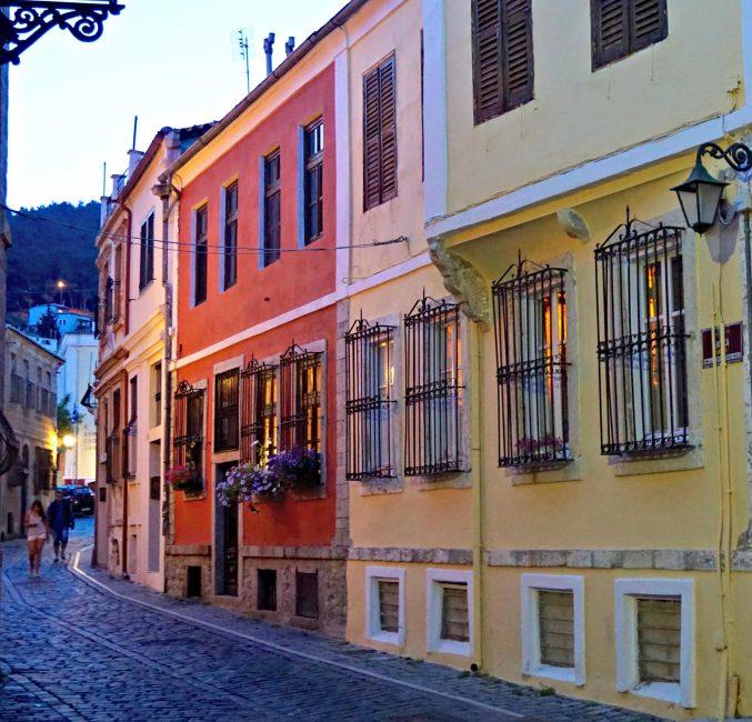 Xanthi street at dusk Journey to Greece