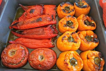 Greek Stuffed Peppers and Tomatoes