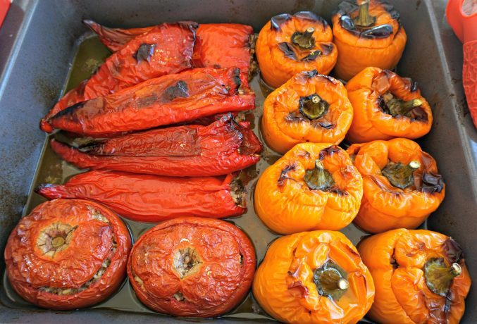 Greek Stuffed Peppers Tomatoes Cooked