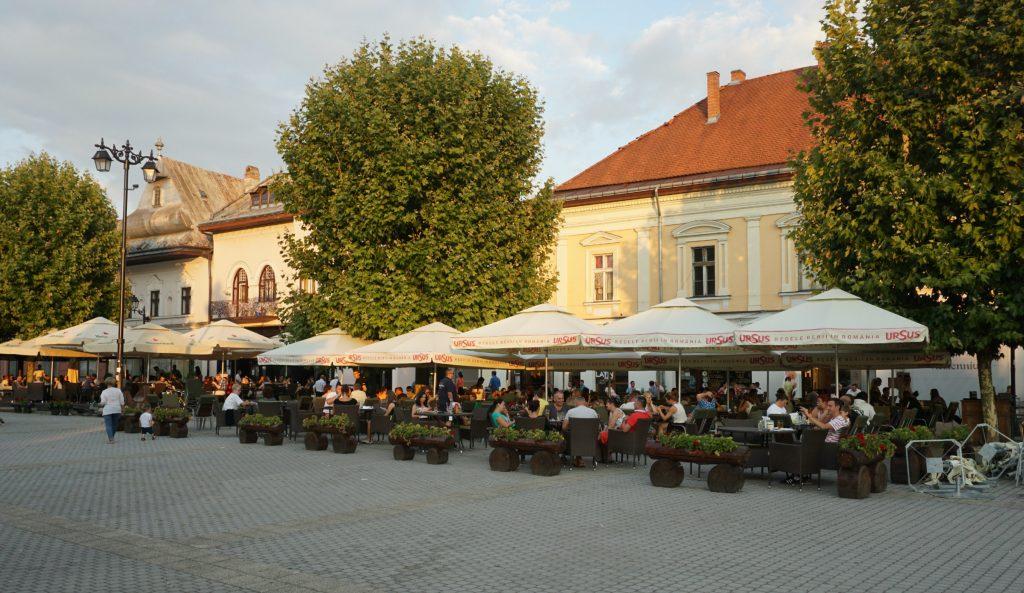 Baia Mare Square dusk - Romania