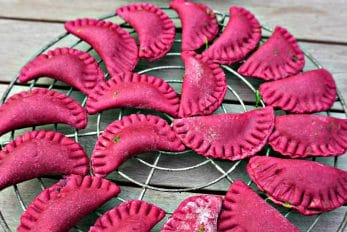 Red Beet Ravioli with Spinach and Goat Cheese