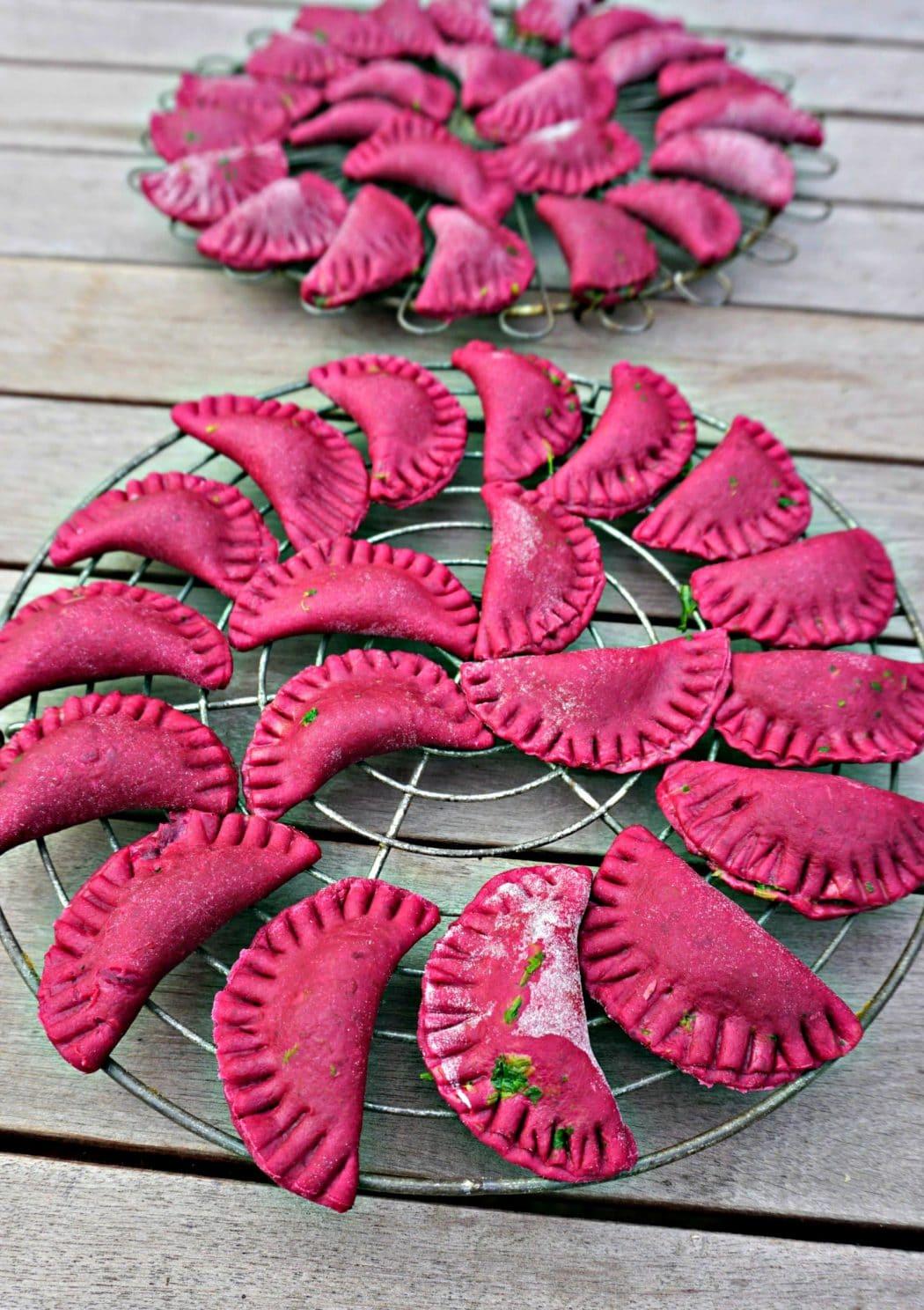 Red beet ravioli rack