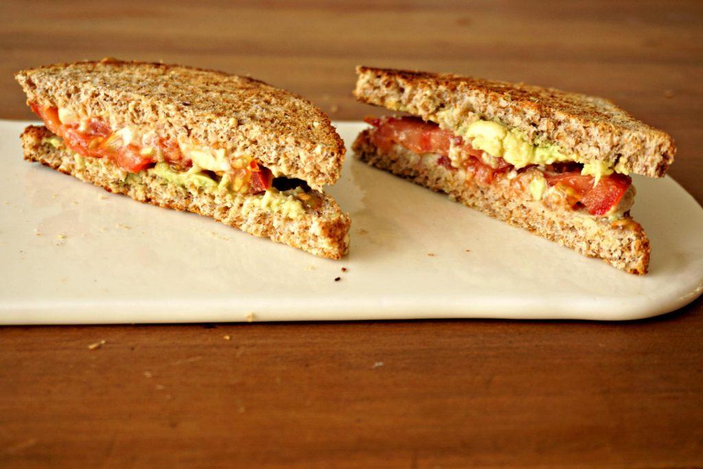 Avocado-Tomato-Hummus Sandwich