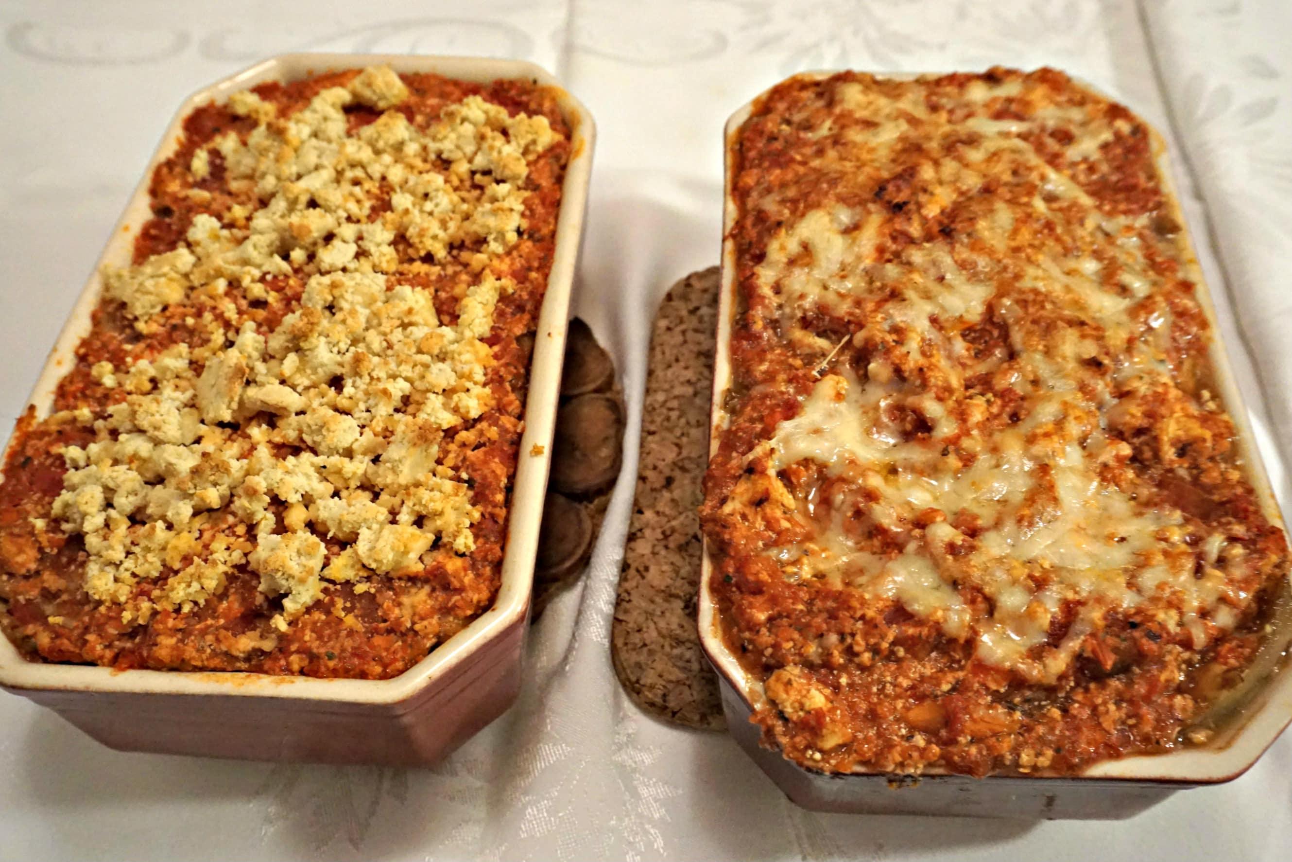 Two Cooked Eggplant Lasagnas and Vegan Eggplant Lasagna