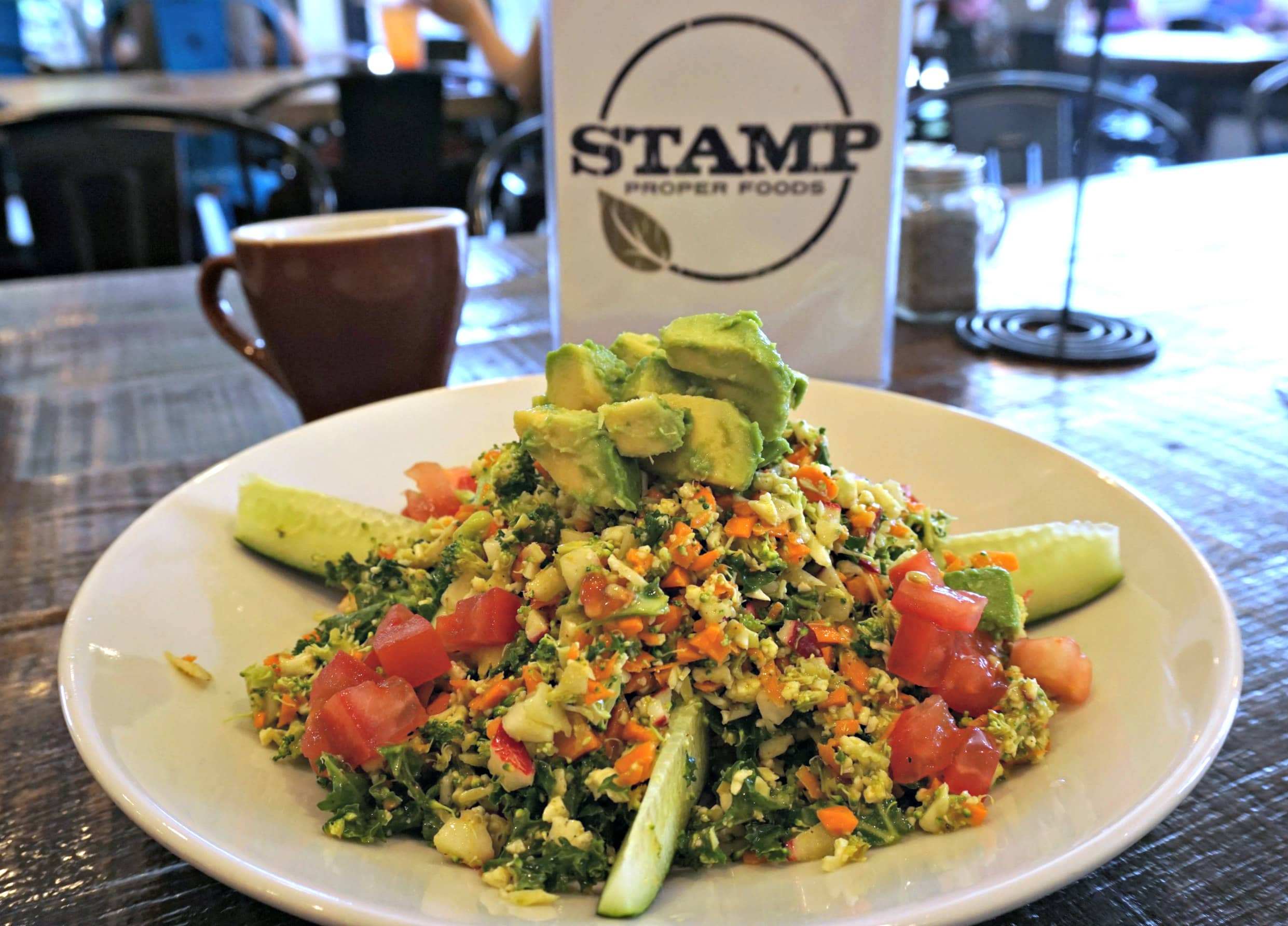 DC Chop Salad with coffee - Stamp Proper Foods