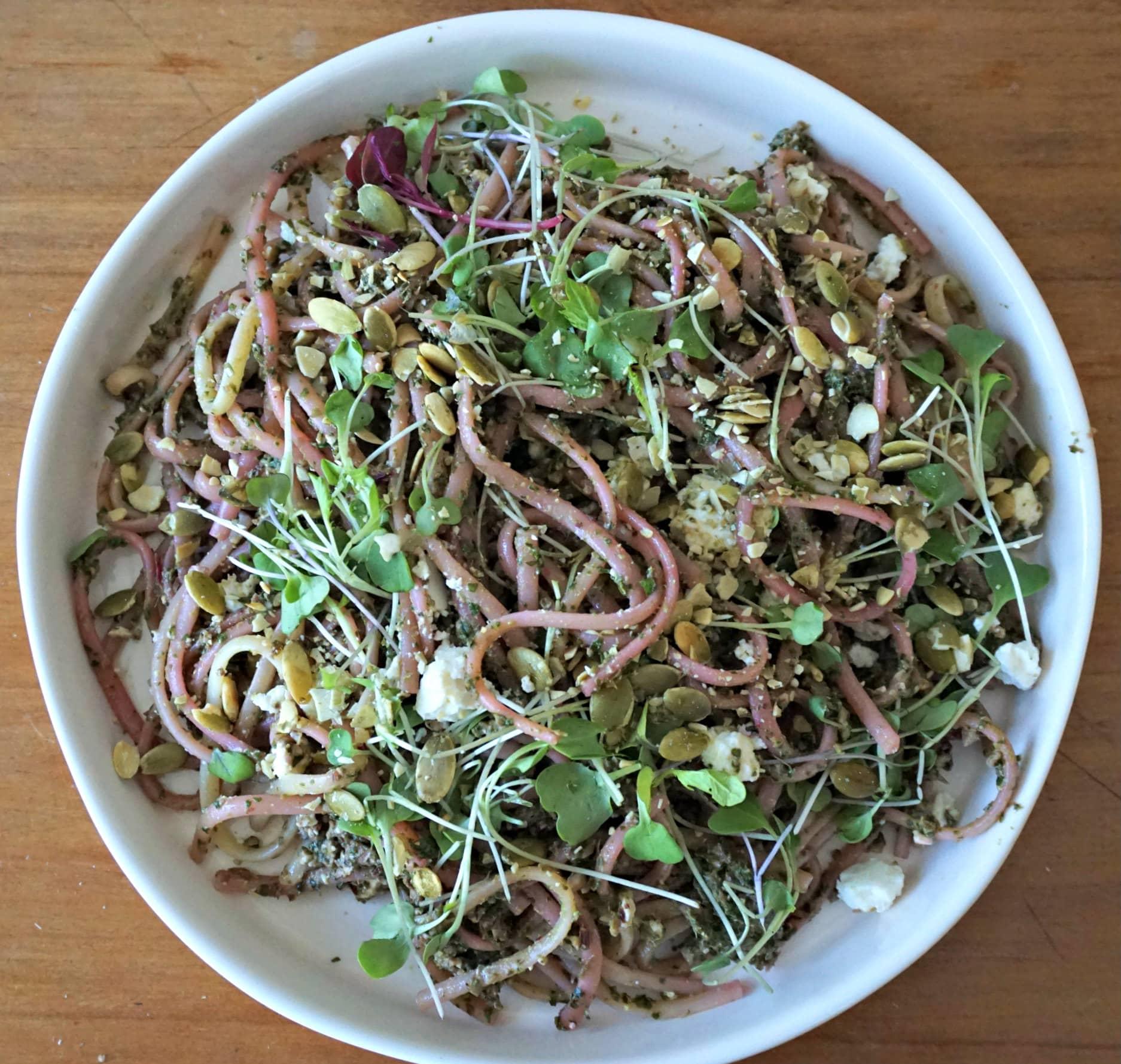 Beet Dandelion Pesto Micro Greens Pumpkin Seeds