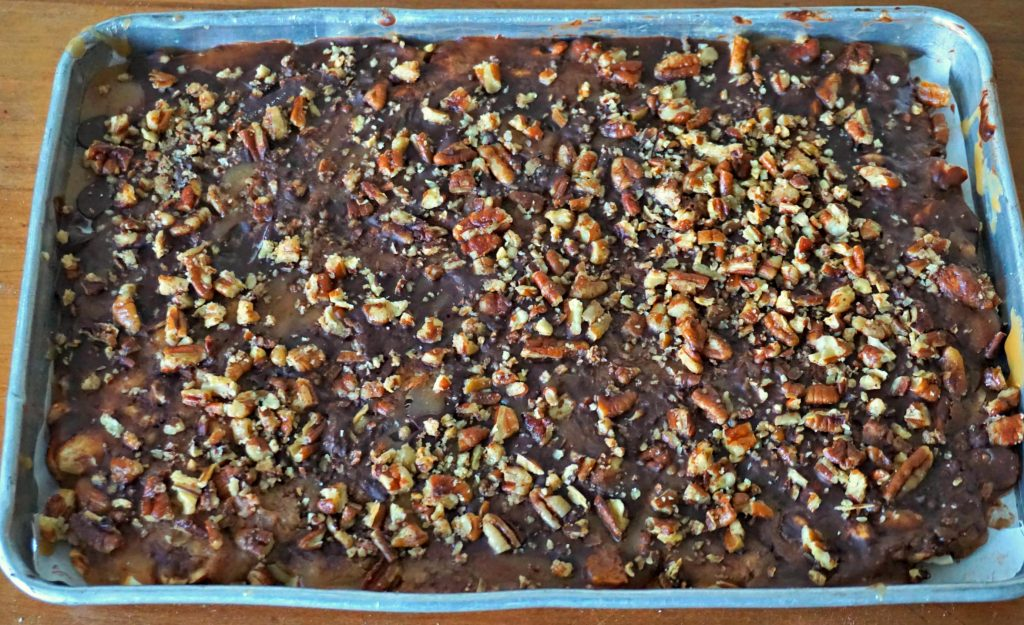 English toffee in pan