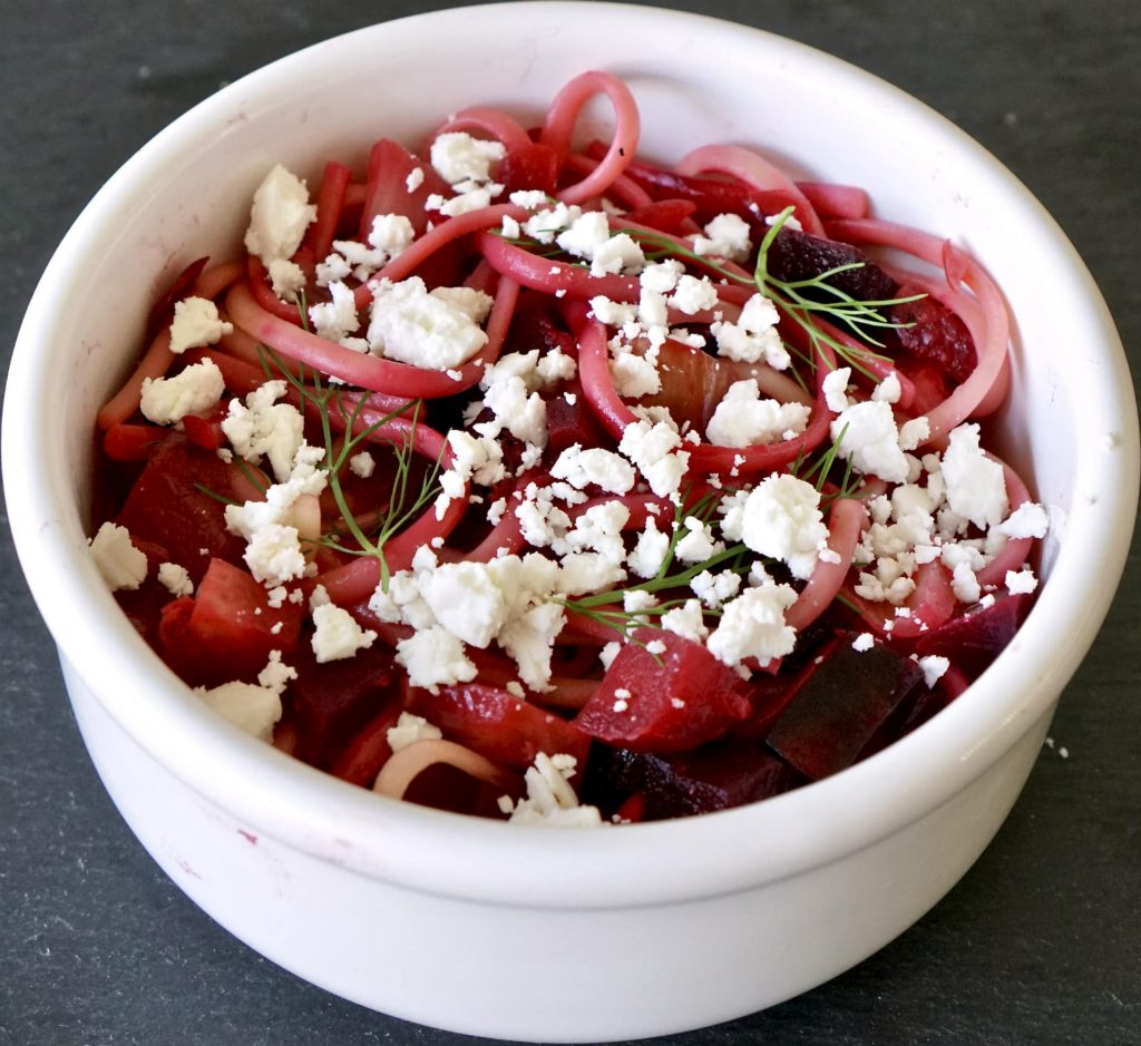 Roasted Beets and Fennel on Pasta with feta cheese