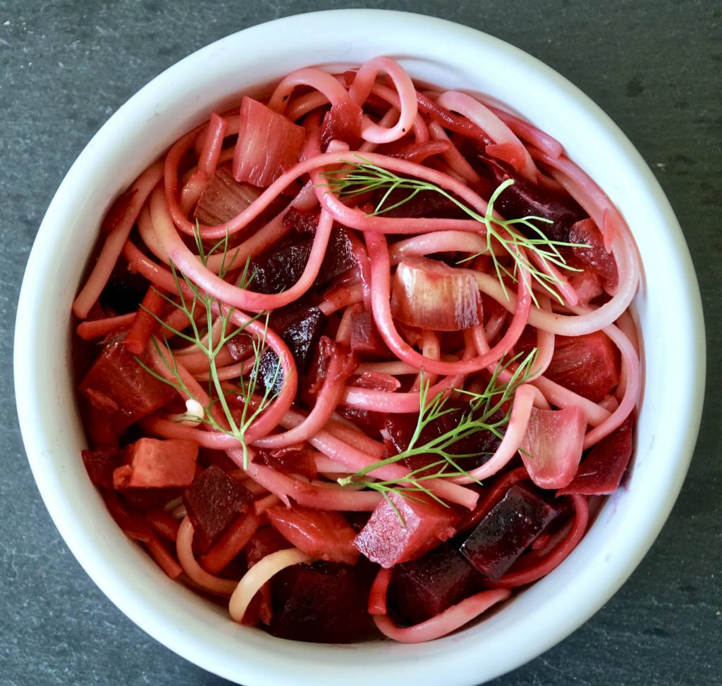 Vegan version - Roasted Beets and Fennel on Pasta