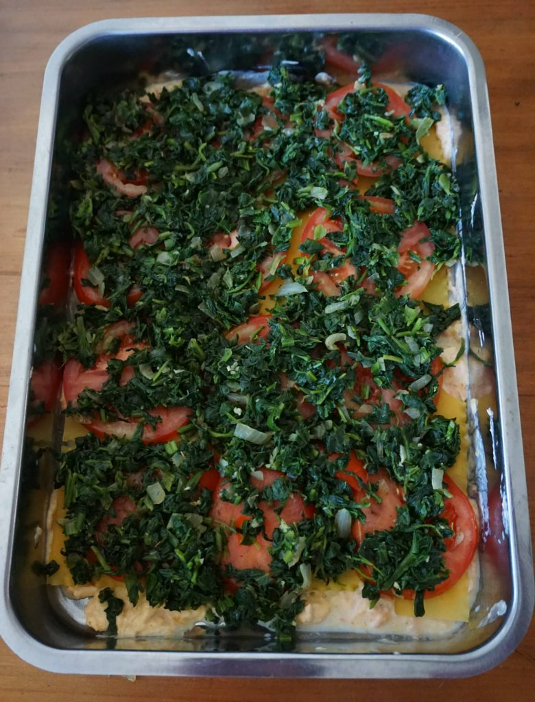 Salmon Lasagna -Layer with tomatoes and spinach