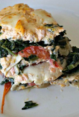Salmon Lasagna serving