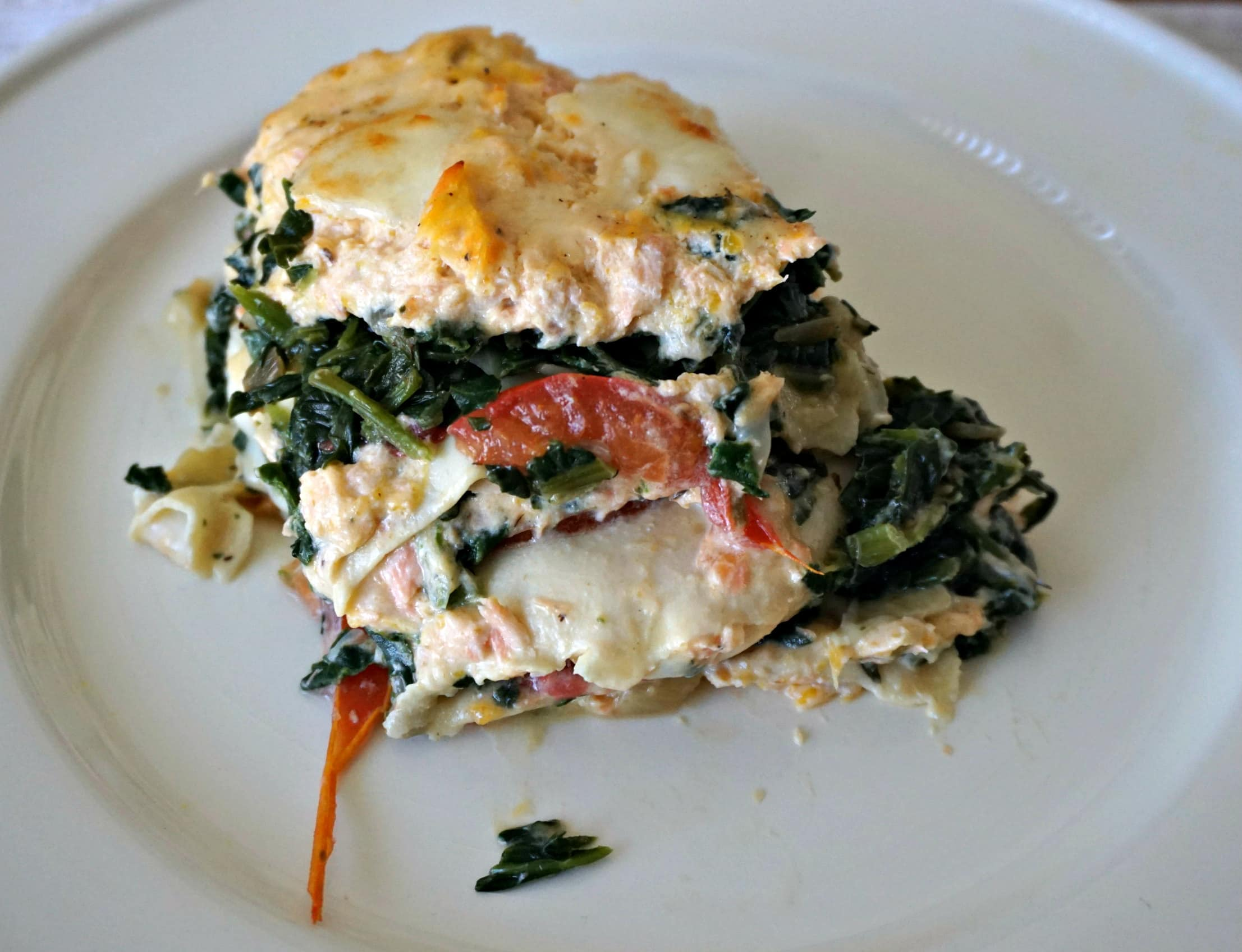Salmon Lasagna serving