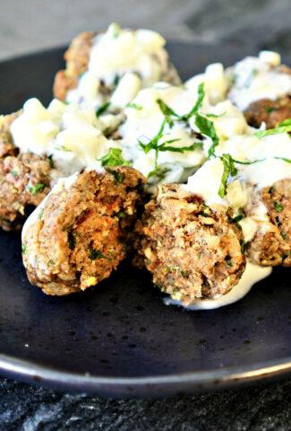 Greek Lamb Meatballs w tzatziki sauce